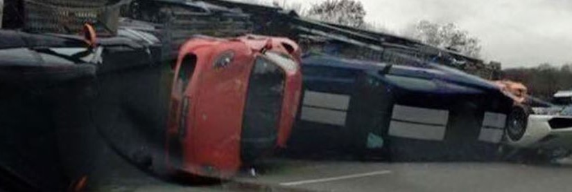 Nine Exotic Cars Were Damaged When Transport Truck Overturns